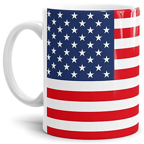 Tassendruck Flaggen-Tasse/Souvenir/Urlaub/Länder-Fahne/Kaffetasse/Mug/Cup - (USA, Normal)