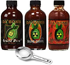 DA BOMB Hot Sauce - Variety of 3 Flavors ( Ground Zero, Beyond Insanity & Ghost Pepper ) 4 oz - with Free Spoon