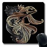 Mauspad Karpfen Schwarz Tattoo Zen Asia Handzeichnung Koi Gezeichnet Weiß Orientalisch Buch Welle Wasser Asiatische Vietnam Tinte Laptop Rutschfest Gedruckt 25X30Cm Langlebige Län