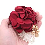 Shiwaki Fournitures de Mariage décoration Fille Demoiselle d'honneur Poignet Fleur Bal fête Enfants Danse Poignet Fleur Mariage décoration Cadeau (vin Rouge)