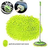 2 in 1 Chenille Microfiber Car Wash Brush Kits Mop Mitt with 45' Long Handle (Aluminum Alloy), Car Cleaning Kit Supplies Brush Duster, Scratch Free Cleaning Tool for Washing Truck, Car, RV (Green)