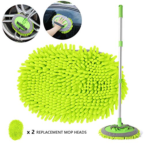 """2 in 1 Chenille Microfiber Car Wash Brush Kits Mop Mitt with 45"""" Long Handle (Aluminum Alloy), Car Cleaning Kit Supplies Brush Duster, Scratch Free Cleaning Tool for Washing Truck, Car, RV (Green)"""
