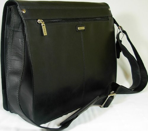 Visconti Harvard Black Leather Messenger Work Bag