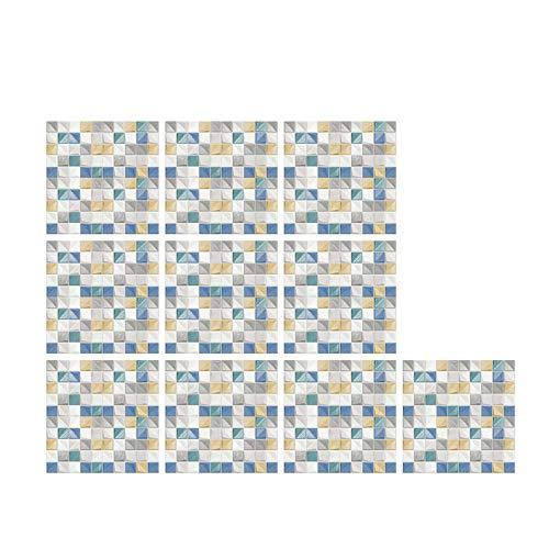 Daisucal 10 Piezas 3D Pegatinas De Azulejos De Cristal DIY Pegatinas De Pared Autoadhesivas A Prueba De Agua Adecuadas para Sala De Estar Cocina BañO