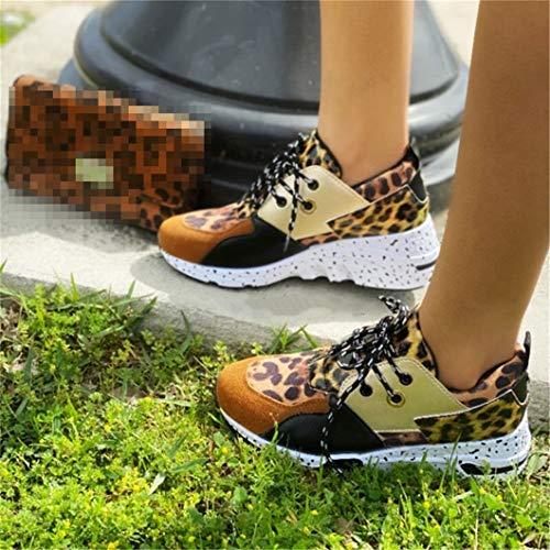Oceansee Las mujeres zapatillas de deporte de cuero de la PU de combinación textil de las mujeres zapatos de deporte suela gruesa cómodos zapatos de lujo zapatillas de deporte amarillo 35