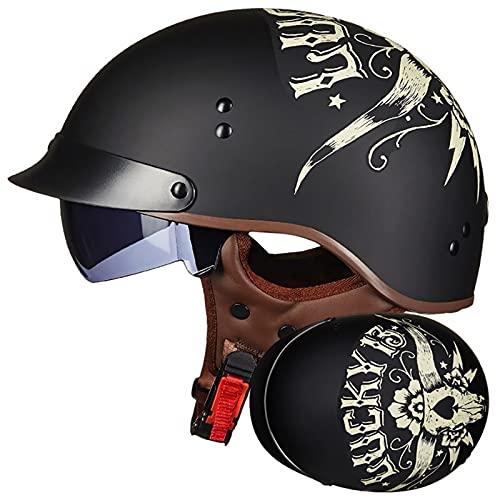 Casco de Moto Jet, Retro Casco de Moto Abierto con Visera, Cascos de Moto Half Helmet para Scooter Mofa Crash, ECE Homologado (Color : C, Size : XL=(61~62CM))