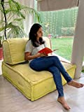 PRITI Sunny Yellow Living Room Lazy Floor Sofa Large Size for Seating Meditation Yoga Pooja Guests Living Room Work from Home