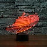 XKALXO Control Remoto De 16 Colores Cambio De Luz Nocturna 3D Lámpara De Mesa Estilo Crucero Yate Lámpara De Mesilla De Noche Barco Dormitorio Lámpara De Sueño