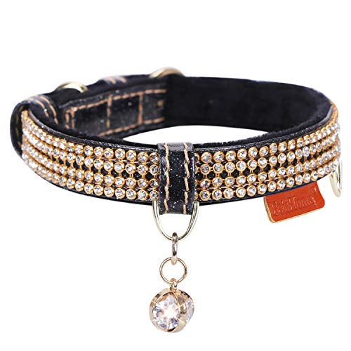 PetsHome Cat Collar, Dog Collar, [Bling Rhinestones] Premium PU Leather with Pendant Adjustable Collars for Small Dog and Cat Extra Small Black