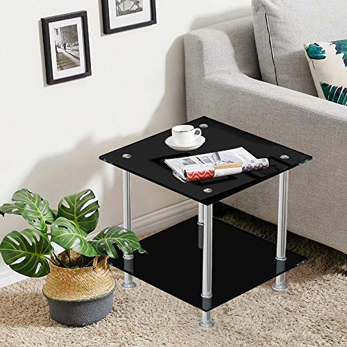 BELIFEGLORY Modern Design End Table, 2 Tier Tempered Glass Coffee Table with Polished Stainless Steel Legs, Small Square Sofa Side Corner Lamp Table for Living Room (Black)
