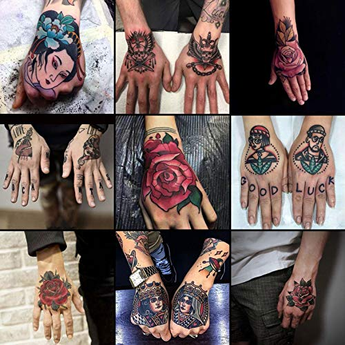 Oottati Waterproof 9 Sheets Back of Hand Scar Cover Fake Temporary Tattoo Stickers - Colorful Red Rose Flower Skull Poker Card King Queen