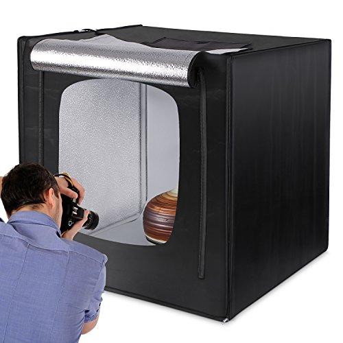 Amzdeal Kit Tenda Studio 80 x 80 cm Scatola Fotografica con Striscia LED 5500K +Panno di base in argento più 3 Panni Sfondi (Bianco, Nero, Arancione)