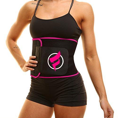 Fitru Waist Trimmer Sauna Ab Belt for Women & Men - Waist Trainer Stomach Wrap (Pink, XXL: 10  X 60 )