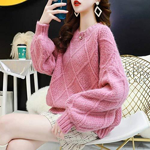 QiongXi Suéter De Estilo Casual Jersey De Mujer Invierno Corto Engrosado Suéter De Otoño E Invierno Top Suelto De Modarosado, Talla única