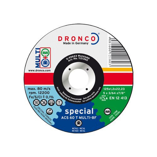 Dronco ACS60TMULTI125 Discos de Corte Metal, Acs 60/Acs 46 T Multi Special, 125 Mm Diámetro, 1.2 Mm Espesor, 22.23 Mm Diámetro Eje, 12,200 RPM, Set de 25