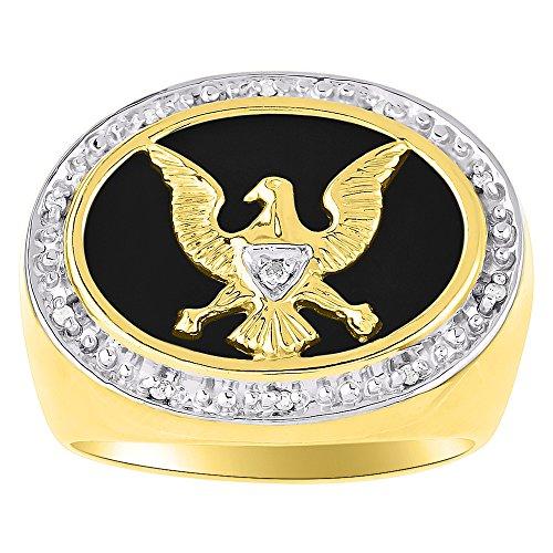 Diamond y negro Onyx anillo plata de ley o amarillo chapado en oro patriótica Estados Unidos Eagle