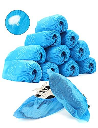 yumcute Cubrezapatos Desechables Impermeables, cubrezapatos desechables tela, cubre pies desechable para Calzado de Interior/Exterior, Anti-Agua, Anti-Barro, Reciclable (Azul, 100 Piezas)