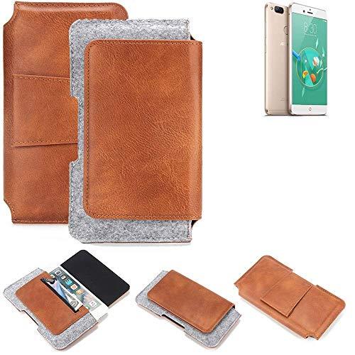 K-S-Trade® Schutz Hülle Für Archos Diamond Alpha+ Gürteltasche Gürtel Tasche Schutzhülle Handy Smartphone Tasche Handyhülle PU + Filz, Braun (1x)