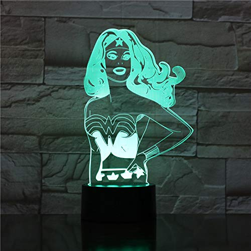 Nur 1 Stück Wonder Superhero League 3D-Lampe Betriebsatmosphäre Bunt mit Fernpreis für Teenager-LED-Nachtlichtlampe