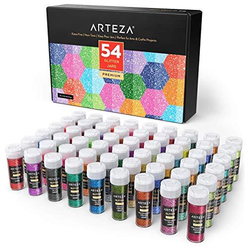 Arteza Glitzerpulver-Set, Glitzerstaub in 54 Glitzerfarben, 9.6g Glitter in Schüttgefäßen, Bastelglitzer leuchtet unter UV-Licht, für Körper & Gesicht, Kosmetik und Basteln