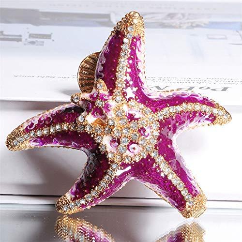 Waltz&F Purple Diamond Starfish Trinket Box Hinged Hand-painted Figurine Collectible Ring Holder