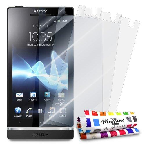 MUZZANO - Set di 3 pellicole protettive per Display Ultra Trasparenti, per Cellulare/Tablet Sony Xperia S Trasparente