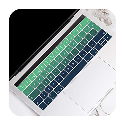 For MacBook Pro 13 15 inch Touch Bar A2159 A1989 A1706 A1707 A1990 2016-2019 EU Spanish Version Keyboard Cover Skin Protector-Gradient Green