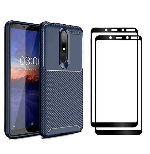 XIFAN Nokia 3.1 Plus Hülle & Bildschirmschutzfolie, [1 Pack] Slim Soft Shockproof Case + [2 Pack] 9H gehärtetes Glas [HD Ultra] für Nokia 3.1 Plus - Blau