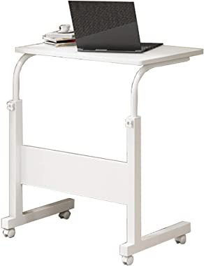 HDL JL Folding Table Laptop Stand Adjustable 60 40cm Computer Standing Desk W/Wheels Portable Side Table for Bed Sofa A++ (Color : B)