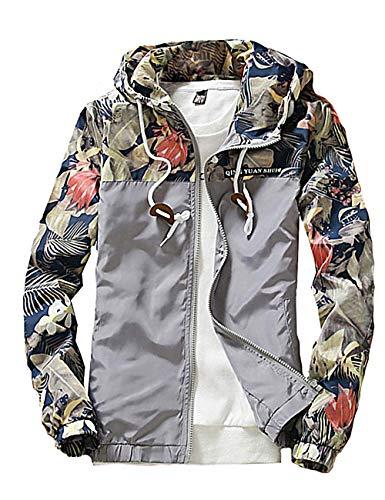 Rexcyril Men's Windbreaker Jacket, Floral Bomber Jacket Hooded Lightweight Zip-up Drawstring Flower Coat Gray Large