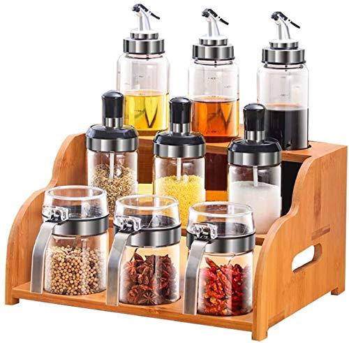 HXF Suministros de cocina salero caja de condimentos botella de condimento creativa vertical caja de condimentos para ahorrar espacio (color: juegos B (9 botellas de especias+estante de especias))