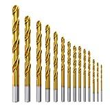 Forets Hélicoïdaux HSS 14PCS Meterk Forets Métaux Set Titanium Forets pour Percer sur Métal et...