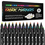 Fabric Markers Permanent Paint Pens: Fine Point Textile Marker Fabric Pens for T Shirts, Canvas, Bags, Baby Clothes, Sneakers, Jeans, Shoes, Tote, 24 Colors Non Toxic & No Bleed Fabric Paint Markers Set