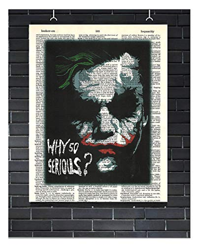 The Joker Why So Serious Movie Poster Super Villain Dark Knight Movie Quote Batman The Joker Why So Serious Dictionary Art Print