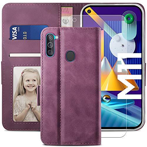YATWIN Funda Samsung Galaxy M11 y 1 Protector de Pantalla, Premium Flip Folio Carcasa para Samsung M11, Soporte Plegable, Ranura para Tarjeta, Cierre Magnético, Compatible Funda Samsung M11, V