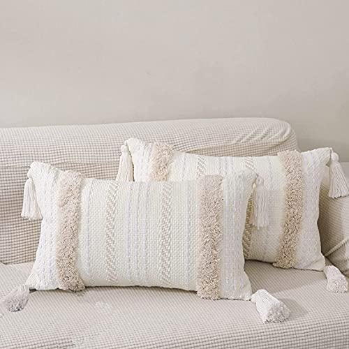MOCOFO Funda de Almohada con mechones de Lujo Estilo nórdico Bordado Bohemio Funda de cojín Decorativa sofá Dormitorio Sala de Estar Coche (Blanco, 30x50cm)