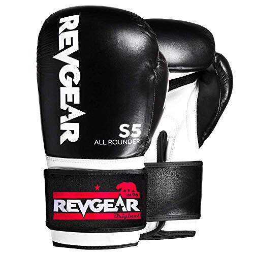 Revgear S5 All Rounder Boxing Glove | Designed for use as Hit Pads, Mitts, or Heavy Bags and Sparring | Boxing and Kickboxing (White/Black, 16 OZ)
