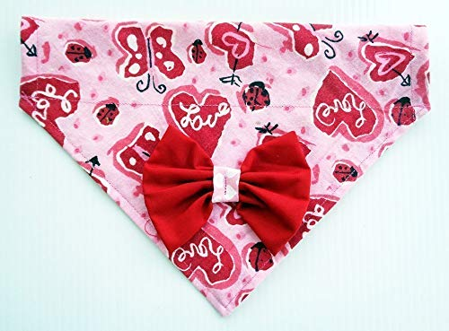 Love, Hearts, Ladybugs and Butterflies Dog Bandanna with Red Bow, Valentine's Day Petwear, Over the Collar Thread Thru Slip Through Neckwear