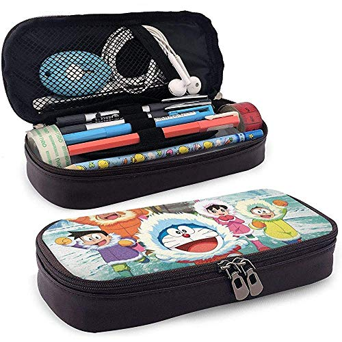 Doraemon Team Up For Polar Adventures Estuche De Cuero Para Lápices De Talla Única Negro