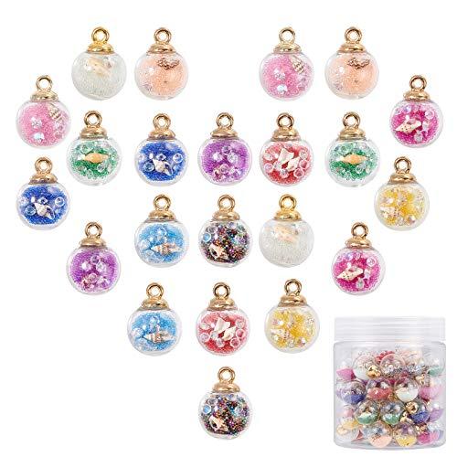PandaHall 66 colgantes de bolas de cristal de 11 colores de 16 mm con cuentas de cristal de resina con concha de diamantes de imitación para pendientes, pulseras, collares, joyas, manualidades