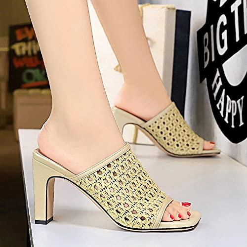 KaO0YaN Sandalias de Diapositivas Abiertas de Punta Abierta para Hombres Unisex, Zapatos de Mula de Estilete sin Espalda, Sandalias sin Cordones, Zapatos de Fiesta de Vestir-G_EU36