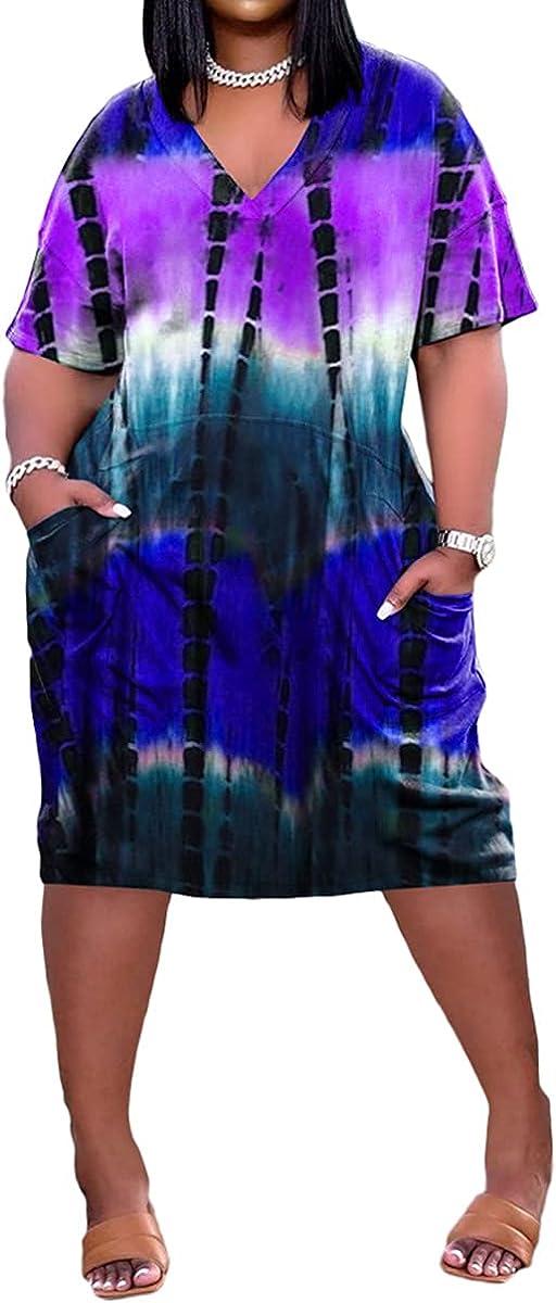 Nhicdns Women's Casual V-Neck Midi Dress Loose Short Sleeve Summer T-Shirt Dress with Pockets
