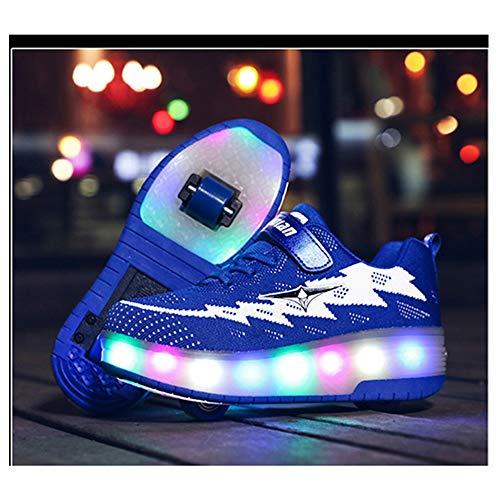 WXBYDX Kinder Skateboard Schuhe Blinkschuhe Kinderschuhe Mit Rollen LED Skate Rollen Schuhe USB Aufladen Trainer Gymnastik Sneakers Für Junge Mädchen Weihnachten Ostern,Größe (29-41) blue-36