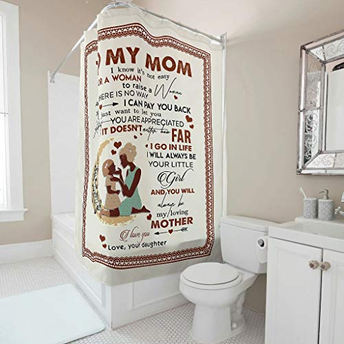 WellWellWell zu meiner Mutter weiß ich dass es nicht einfach für eine Frau ist Shower Curtains Funny Bathroom Curtains Without Washing Machine Washable White 180 x 200 cm