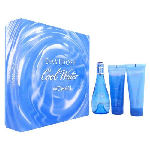 Davidoff Cool Water Woman Geschenkset 100ml EDT + 75ml Body Lotion + 75ml Duschgel