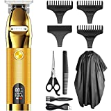 Mens Hair Clippers, All IN 1 Cordless Outlining Trimmer Hair Cuttings Kit, Barber trimmer For Men, LCD Display Zero Gapped Detail Barber Trimmer, Gold
