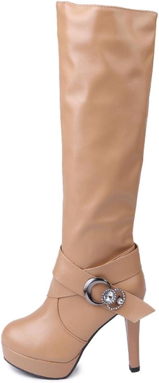Fullfun Women Ladies Buckle Belt Leather Warm Boots High Heels shoes