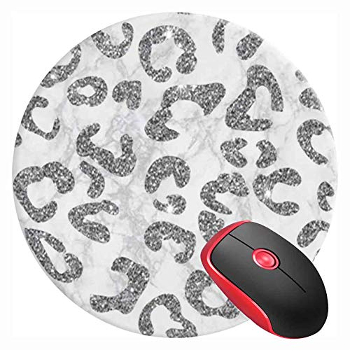 Mouse Pad Round Gaming Mouse Mat Silver Leopard Cheetah Sparkle White Marble, Non-Slip Rubber Base Mousepad Cute Mousemat for Laptop Computer PC Office Home