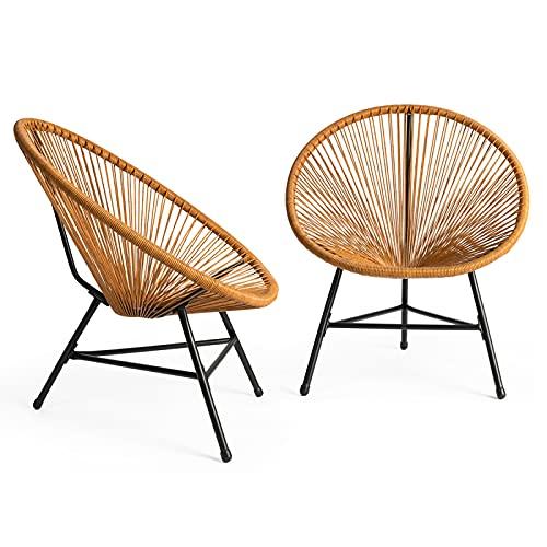 IDMarket - Lot de 2 fauteuils de Jardin Izmir Effet rotin Design Oeuf avec Cordage Plastique
