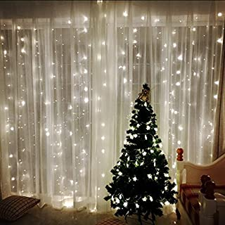 USB LED Window Curtain Fairy Strip Lights 9.8x9.8FT 300LED 8 Model Waterproof Outdoor/Indoor Icicle Fairy Weeding LED Lamps Lights for Weddings, Party, Home, Christmas Patio Lawn Garden Window Decorat